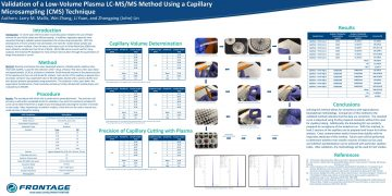 Poster: Validation of a Low-Volume Plasma LC-MS/MS Method Using a Capillary…